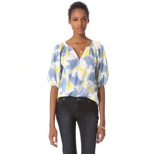 Diane von Furstenberg Keoni Top Blue Yellow Sz 6